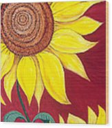 Sunflower On Red Wood Print