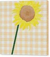Sunflower On Yellow Plaid Wood Print