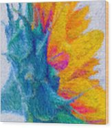 Sunflower Profile Impressionism Wood Print