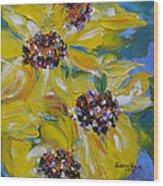 Sunflower Quartet Wood Print