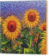 Sunflower Scape Wood Print