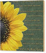 Sunflower Scripture Wood Print
