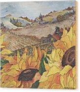 Sunflower Serenity Wood Print by Meldra Driscoll