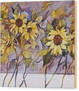 Sunflower Stems Wood Print