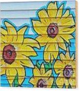 Sunflower Street Art Saint Johns Nfld Wood Print