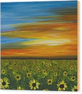 Sunflower Sunset - Flower Art By Sharon Cummings Wood Print by Sharon Cummings