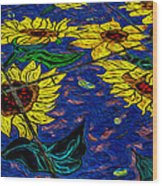 Sunflower Tiled Oil Painting Wood Print