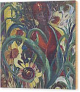 Sunflower Woman #1 Wood Print