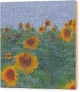 Sunflowerfield Abstract Wood Print