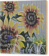 Sunflowers And Bicycle Wood Print