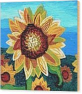 Sunflowers And Blue Sky Wood Print by Genevieve Esson