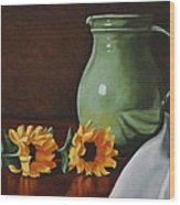 Sunflowers And Green Water Jug Wood Print by Daniel Kansky
