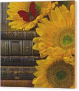 Sunflowers And Old Books Wood Print by Garry Gay