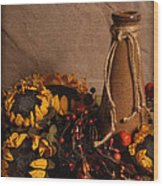 Sunflowers And Vase Wood Print