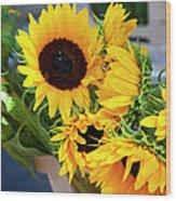 Sunflowers At Market Wood Print