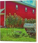 Sunflowers Beside A Big Red Barn Wood Print