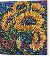 Sunflowers Bouquet In Vase Wood Print