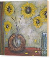 Sunflowers Wood Print by Elena  Constantinescu