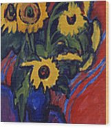 Sunflowers Wood Print by Ernst Ludwig Kirchner