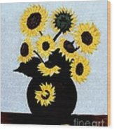 Sunflowers Expressive Brushstrokes Wood Print