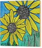 Sunflowers For Fun Wood Print