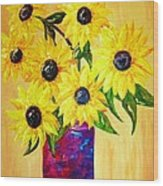 Sunflowers In A Red Pot Wood Print
