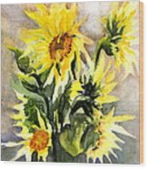 Sunflowers In Abstract Wood Print