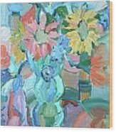 Sunflowers In Blue Vase Wood Print by Brenda Ruark