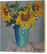 Sunflowers In Blue Vase Wood Print