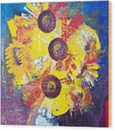 Sunflowers In Blue Vase Wood Print