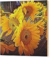 Sunflowers In December Wood Print