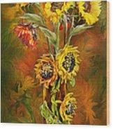 Sunflowers In Sunflower Vase Wood Print by Carol Cavalaris