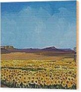 Sunflowers In The Sun Wood Print