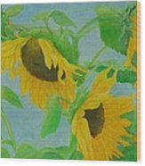 Sunflowers In The Wind 2 Wood Print