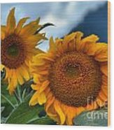 Sunflowers In The Wind Wood Print