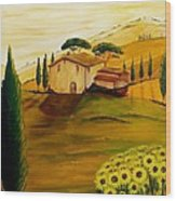 Sunflowers In Tuscany Wood Print