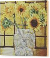 Sunflowers Wood Print by Michael Crapser