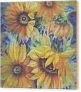 Sunflowers On Blue Wood Print by Ann Nicholson
