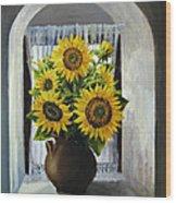 Sunflowers On The Window Wood Print