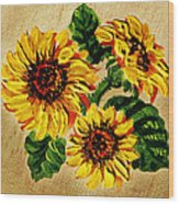 Sunflowers On Wooden Board Wood Print