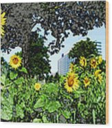 Sunflowers Outside Ford Motor Company Headquarters In Dearborn Michigan Wood Print by Design Turnpike