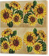 Sunflowers Pattern Country Field On Wooden Board Wood Print