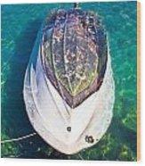 Sunken Motor Boat After Storm Wood Print