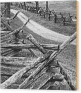 Sunken Road - Bw Wood Print
