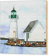 Sunken Rock Lighthouse Ny Wood Print