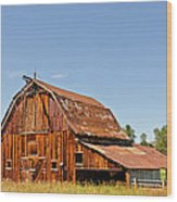 Sunlit Barn Wood Print