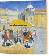 Sunlit Cafe Scene Wood Print by Bav Patel