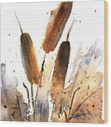 Sunlit Cattails Wood Print by Vickie Sue Cheek