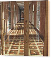 Sunlit Corridor Wood Print