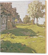Sunlit Day  A Small Village Wood Print